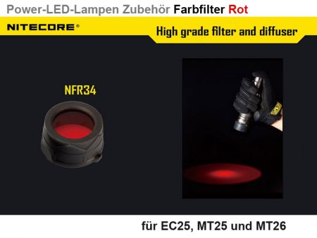 Nitecore Filter, red, 34 mm