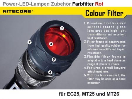 Nitecore Filter, rot, 34 mm
