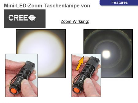 Mini-Power-LED-Pocket Lamp, 300 Lumen, Focus Zoom