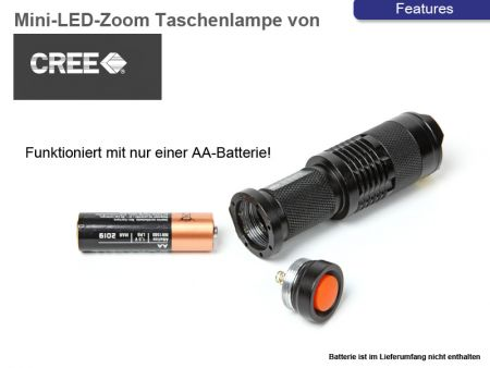 Mini-Power-LED-Lampe, 300 Lumen, Fokus Zoom