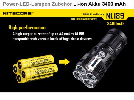 Nitecore 18650 battery, 3400 mAh
