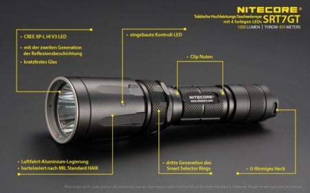 NiteCore SRT7GT, Power-LED-Lampe, 1000 Lumen