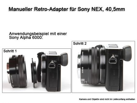 Retro-Adapter for Sony NEX Cameras, with 40,5mm Thread