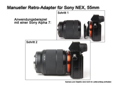 Retro-Adapter for Sony NEX Cameras, with 55mm Thread