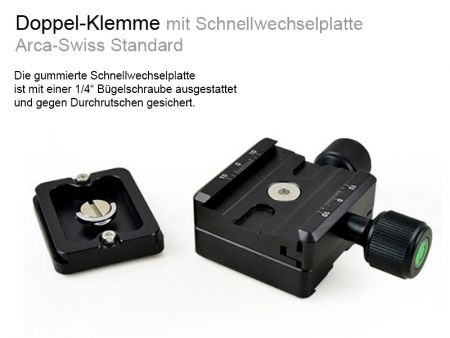 Dual-Clamp with Quick Release Plate Arca-Swiss standard