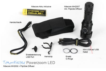 Traumflieger Powerzoom LED-Taschenlampe PRO (Nitecore MH20GT + Diffusor + Halterung)