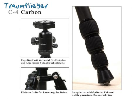Traumflieger C-4 carbon tripod with ball head