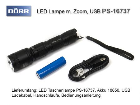 Dörr PS-16737 Zoom LED Flashlight, 600 lumens