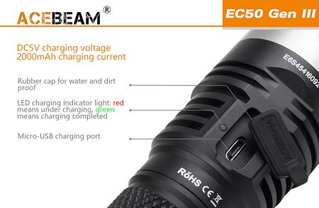 Acebeam EC50 III LED-flashlight with 3.850 lumens