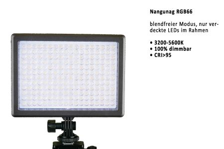 Nangunag RBG66 video light with high cri