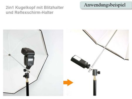 2in1 Miniballhead for flash and umbrella