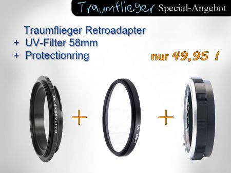 Retro-Kit: Retroadapter, Protectionring und UV-Filter