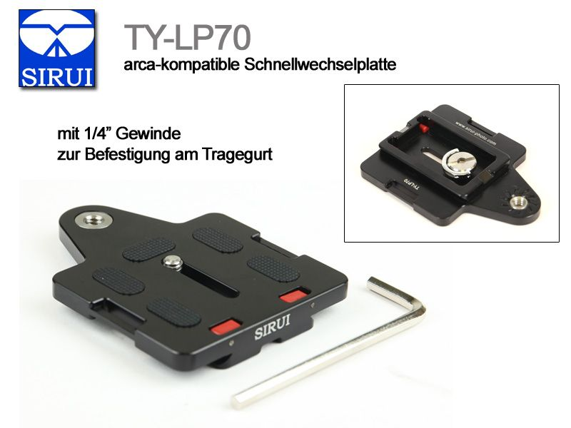 SIRUI TY-LP70 Quick Release Plate with 1//4 Camera Strap Attachment