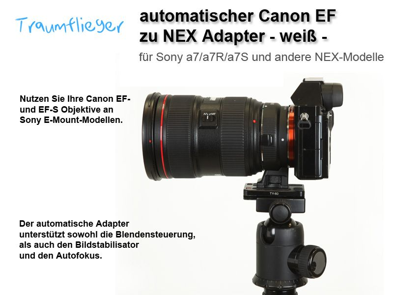 Automatic Canon EF to Sony NEX Adapter (Sony A7)- black - Traumflieger