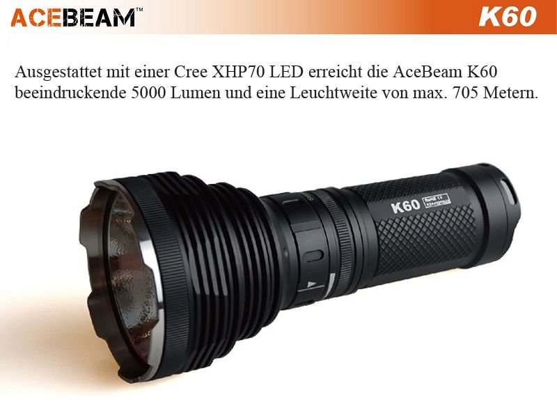 acebeam k60 led taschenlampe mit 5000 lumen traumflieger. Black Bedroom Furniture Sets. Home Design Ideas